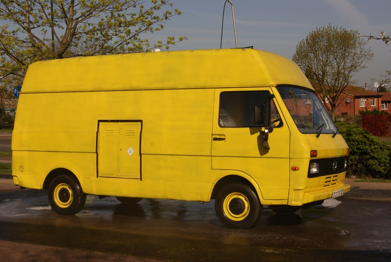 The van that morning, yellow with anticipation