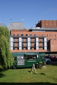 Our food truck in front of the RSC on the other side of the River Avon