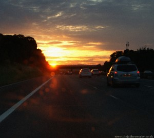 Sunset on the M40 Northbound