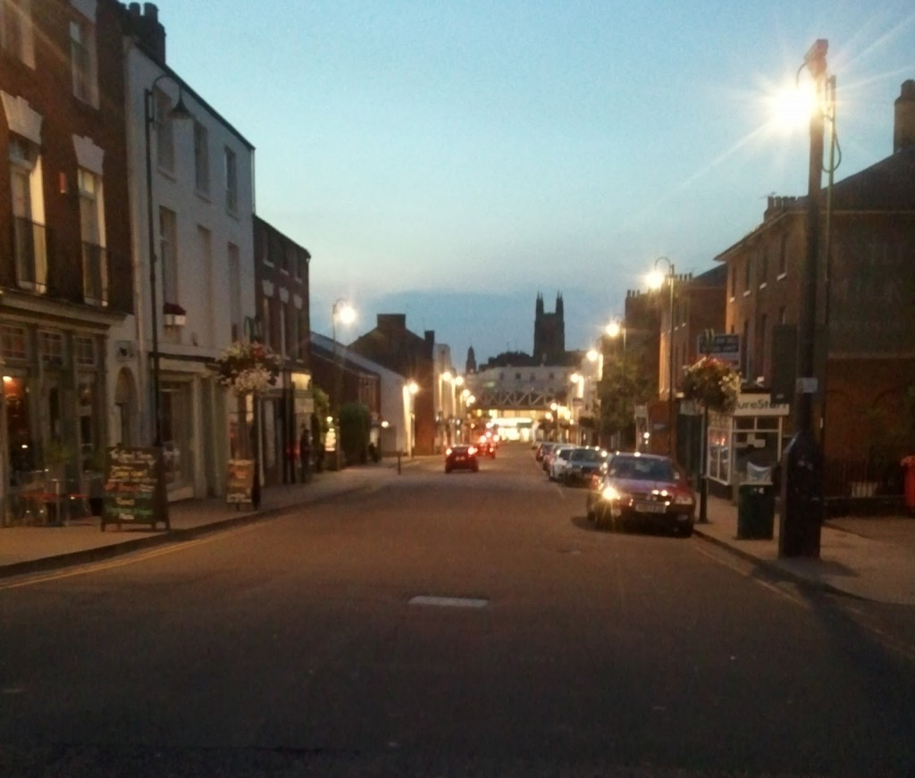 Old Town in Leamington spa, at dusk.