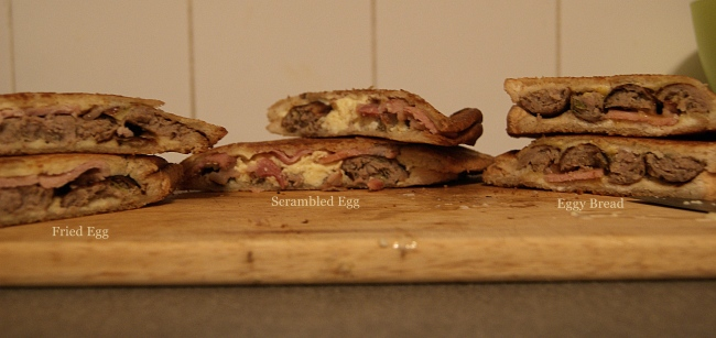An egg, bacon and sausage toastie, cooked three ways.