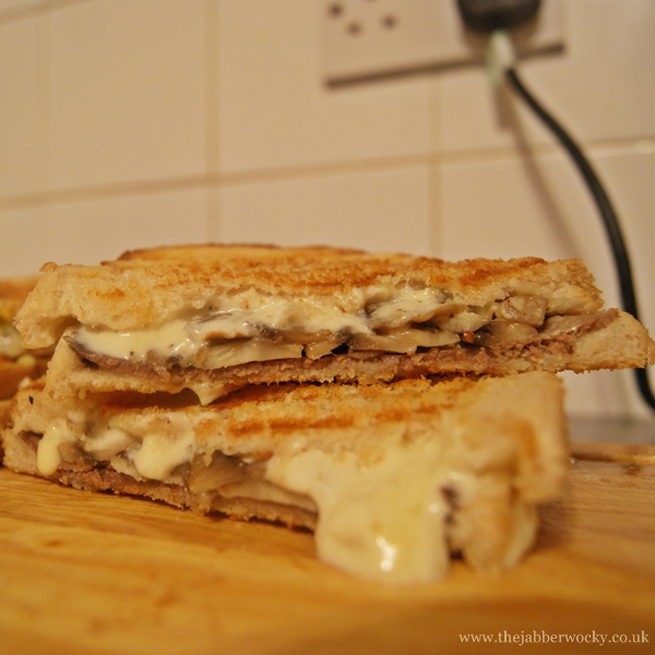 A stilton pâté, mushroom and roast beef christmas toastie, gently oozing cheese