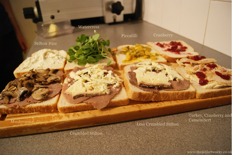 A spread of 8 half-toasties, ready to be pressed.