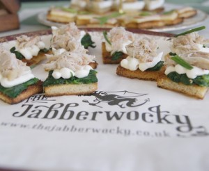 Crab, mascarpone, spinach and chive toasties, impersonating canapés.