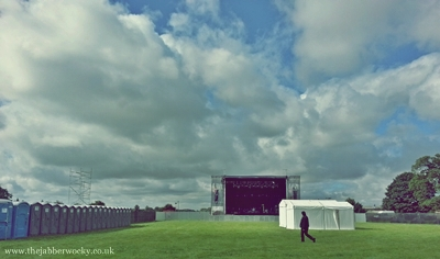 A moody filter on an as-yet empty festival ground.