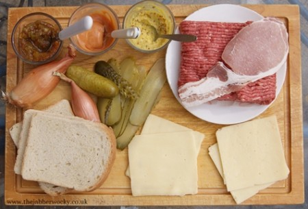 Toasted sandwich burger ingredients