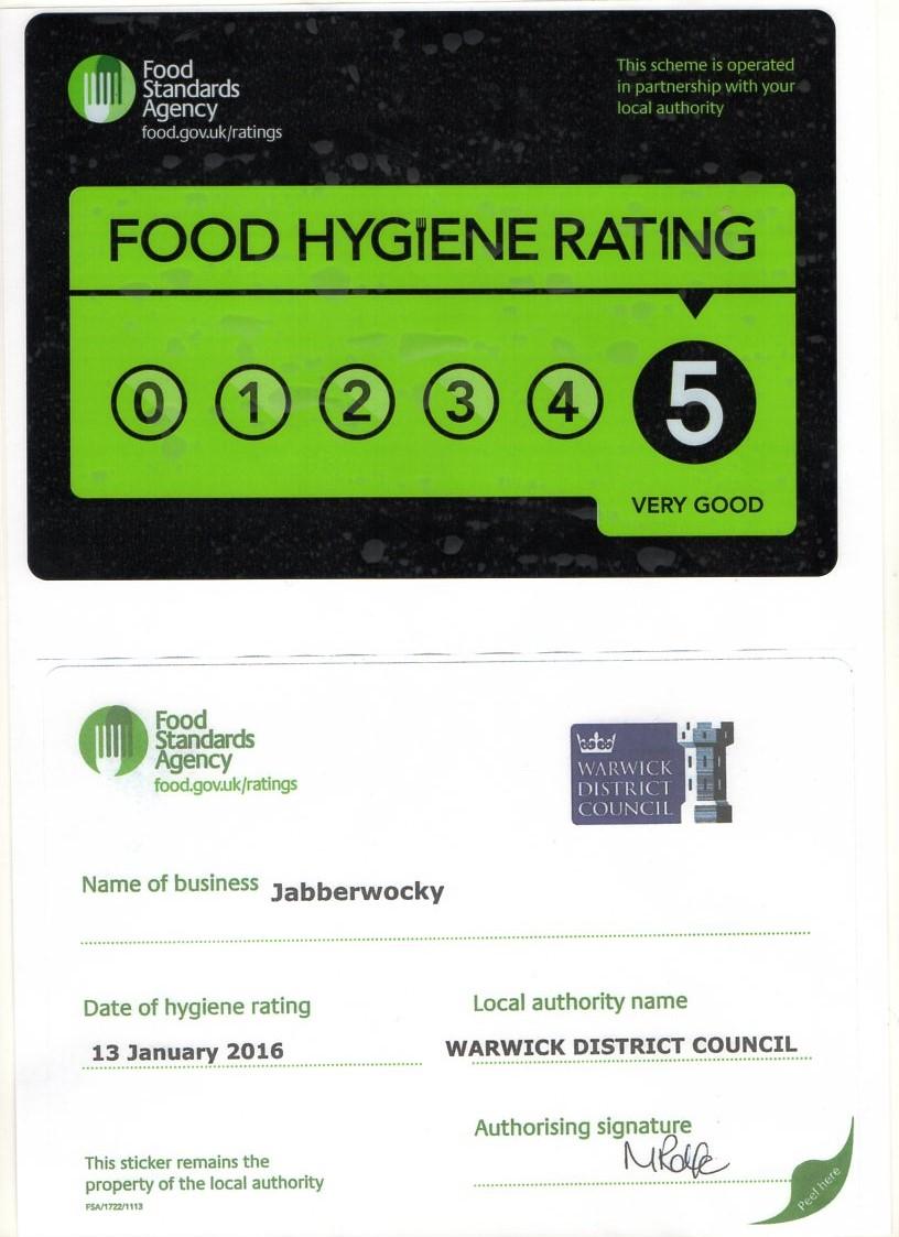 Food Hygiene Certificate 2016 The Jabberwocky Soliloquy
