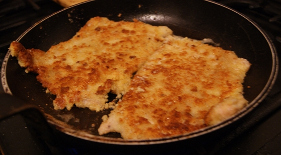 German schnitzel frying
