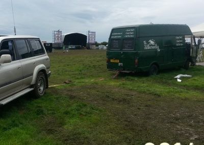 The green van being towed off Glastonbudget.