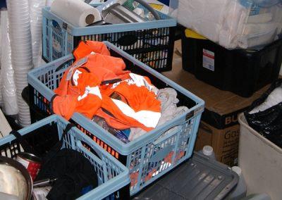crates of catering equipment