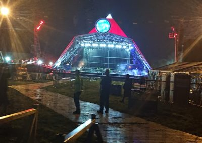 The pyramid stage during setup.