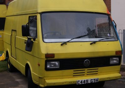 yellow VW LT 31 catering van